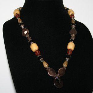 Vintage boho necklace with hematite pendant
